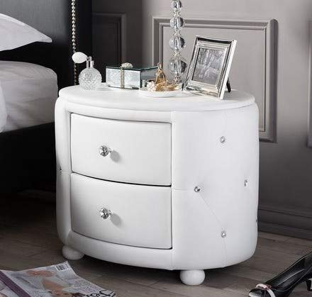 Nightstand, Bedstand - White Oval Shaped Faux Leather Upholstered with Two Drawers - Add Charm to Your Bedroom Or Guestroom