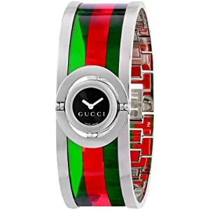 Gucci Twirl Small Green Red Acetate Bangle Womens Watch(Model:YA112517)