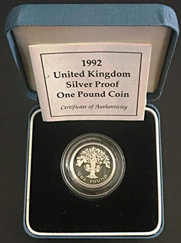 (1992 UK Great Britain Silver Proof One Pound Coin with COA )