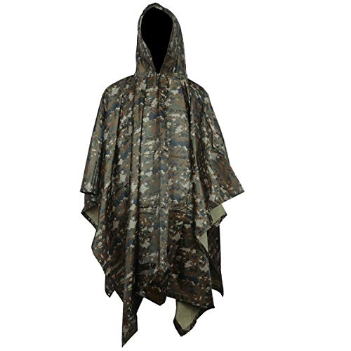 (A-MORE Rain Poncho,Waterproof Raincoat with Hoods Rain Poncho for Outdoor Activities Men,Women (Digital camouflage Poncho), Large)