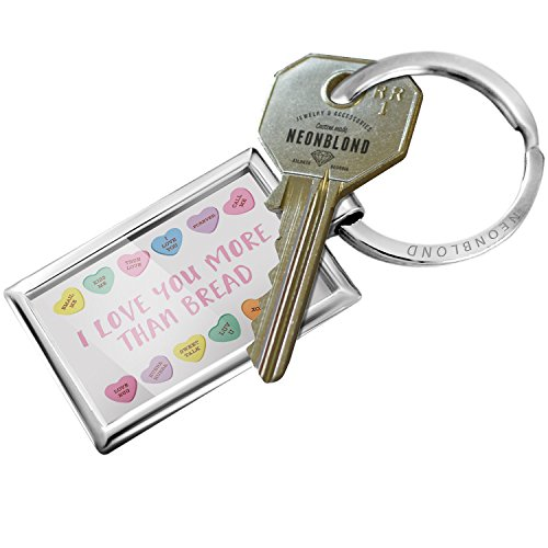 Keychain I Love You More Than Bread Valentine's Day Conversation Hearts Border - NEONBLOND - Border Bread