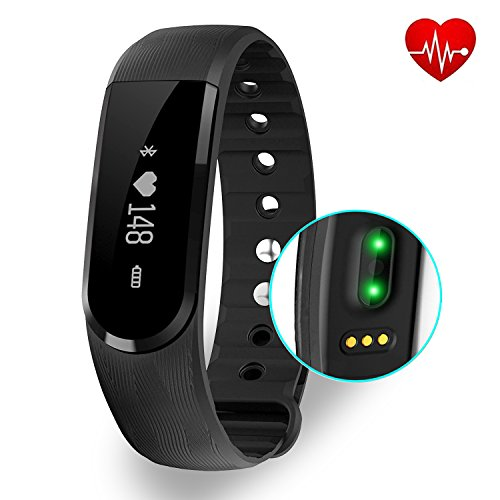 Fitness Tracker with Heart Rate monitor, EIISON Z4 Activity Watch Step Walking Sleep Counter Wireless Wristband Pedometer Exercise Tracking Sweatproof Sports Bracelet for Android and iOS, Black