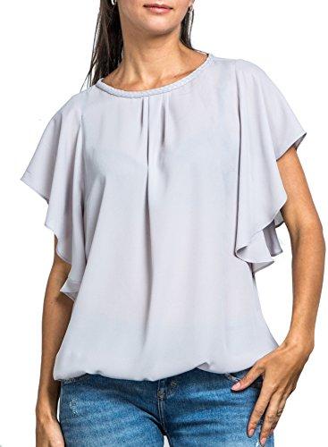 Everyday Womens Angel Sleeve Top, Hand Braided Neckline, Bubble Hem, Chiffon Blouse, Wear to Work, Silvergray L(US - Angel Top Blouse