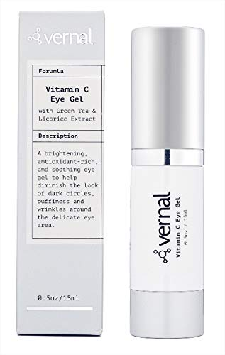 Vernal Eye Gel Treatment- Antioxidant Rich- Vitamins C and K, Glycerin, Cucumber, Eyebright, Collagen, and Green Tea - Diminish Dark Circles, Puffiness and Wrinkles- Best Under Eye Cream-Brighter Eyes