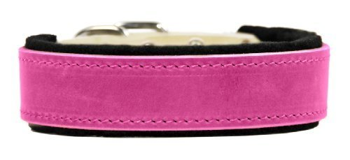 Dean & Tyler ''DT Delight'' 32-Inch by 1-1/2-Inch Leather Dog Collar with Felt Padding and Strong Hardware, Fits Neck 30-Inch to 34-Inch, Pink by Dean & Tyler