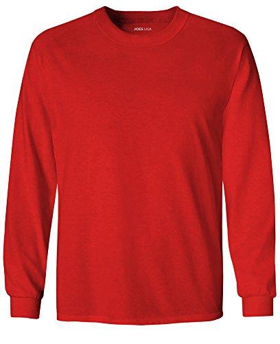Joe Kids T-shirt - Joe's USA Youth Long Sleeve Cotton T-Shirt-Red-L