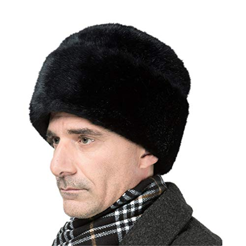 - Winter Men Warm High Imitation Mink Fur Bomber Hat Black Solid Thicken Earflap Caps Leifeng