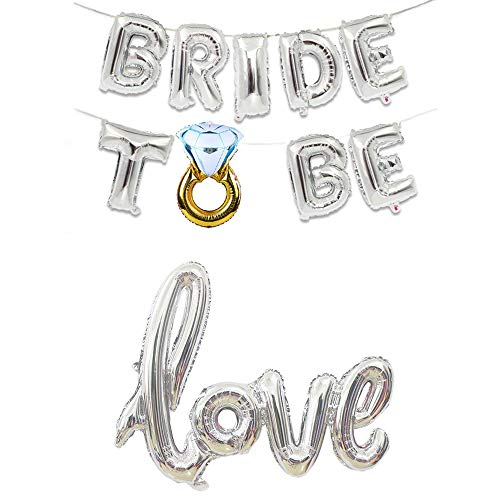 CHQHQ Bride to BE Balloon Love Balloon Jumbo Foil Balloon Handwriting Letter Giant Celebration Balloon Romantic Wedding Bridal Shower Anniversary Engagement Party Decoration (Silver, Silver)]()