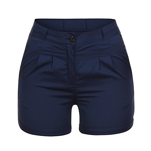 TOPUNDER High Waisted Jean Shorts Casual Solid Ladies Pocket Pleated Zipper Button Pants Trouser Shorts Navy