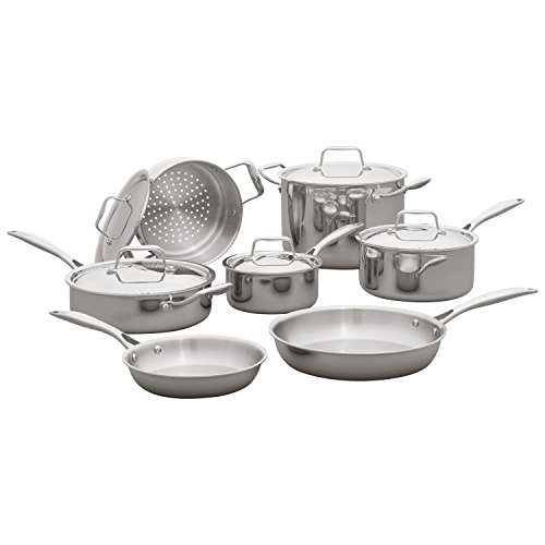 - Stone & Beam Tri-Ply Stainless Steel Kitchen Cookware Set, Pots and Pans, 12-Piece