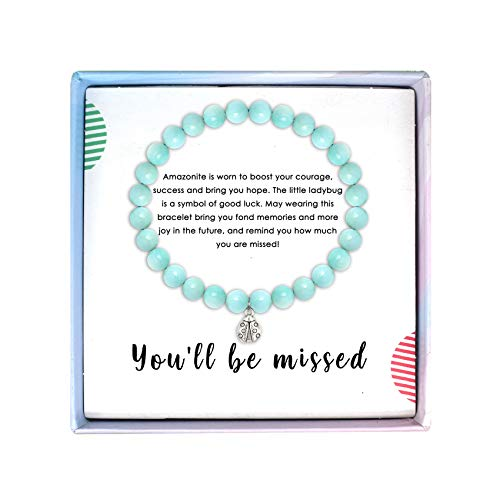 SOLINFOR Coworker Leaving Gifts for Women - Amazonite Beads Farewell Bracelet - Retirement Moving Away Goodbye Going Away New Job Good Luck Jewelry Gift Idea for Her Friends Boss (Leaving Gift Coworker For)