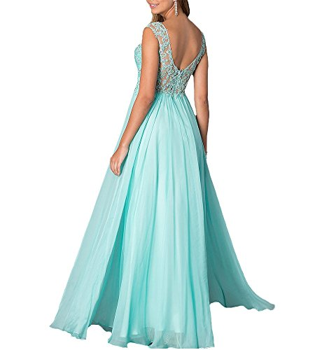 Chiffon Blue Dress Long Gown Formal Bridal Navy Neck V Beauty Evening Prom Party YW097 Lace qH6tTRRw