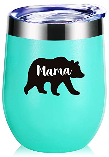 Mama Bear Wine Glass Tumbler With Funny Sayings.Mothers Day Gifts,Mom Birthday Gifts,New Mommy gifts,Mom Gifts,Christmas Gifts.Gifts For Wife,Baby Shower,Mom To Be,Momlife Mug(Seafoam)