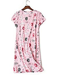 Women s Cotton Nightgowns Cute Printed Nightshirt Short Sleeves 3a299d988