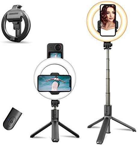 Selfie Ring Light with Tripod Stand & Phone Holder [Newest Version] Rechargeable Selfie Stick Tripod, 6.3″ Led Camera Ringlight with Hot Shoe Adapter for Selfie, Make Up, Live Stream, Photography