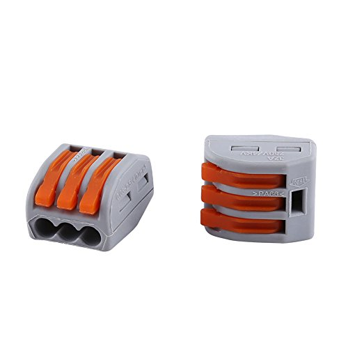 Lever Rough (20Pcs 2/3/5 Way Spring Terminal Block Reusable Electric Cable Wire Connector (3 ways))