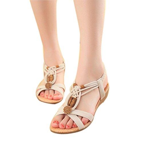 las sandalias ZAMME 1 del abierto de de de y cordones cuentas pie con mujeres niñas con las blancas Dedo 6Uqvx6