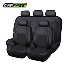 NEW ARRIVAL- CAR PASS Skyline PU LEATHER CAR SEAT COVERS - UNIVERSAL FIT FOR CARS,SUV,VEHICLES (11PCS, ELEGANT BLACK)