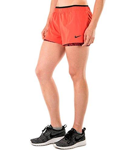 Nike Women's Full-Flex-2-in-1 Shorts, Crimson Orange & Black (X-Large)