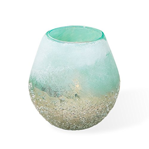 Two's Company Frosted Seafoam Hand-Blown Glass Candle Holder,