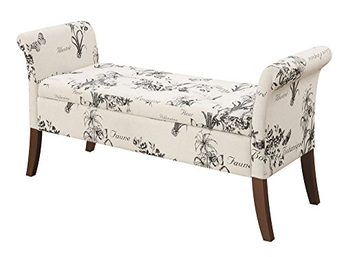 Convenience Concepts 143634FBT Designs4Comfort Garbo Storage Bench, Botanical Fabric