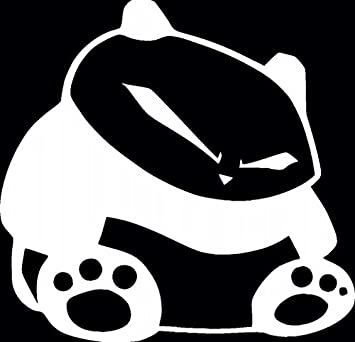 2 White JDM Fat Angry Panda Car Decal Vinyl Window Wall Sticker Laptop Two