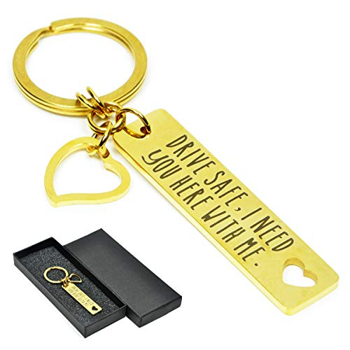 Elec Chain - Drive Safe Keychain I Need You Here With Me,A Variety of Styles Safe Driving Reminder Key Chain Lucky Key Ring (I Need You -D)