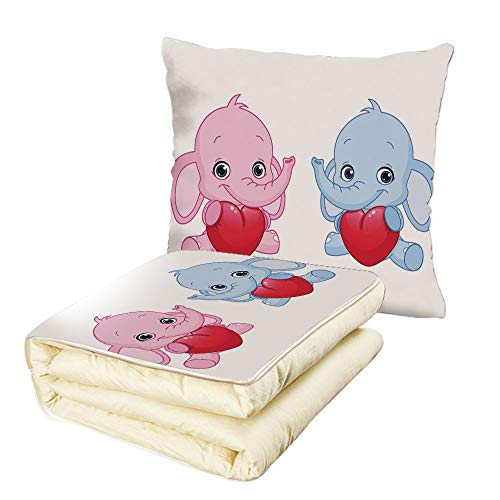 iPrint Quilt Dual-Use Pillow Elephant Nursery Pink and Blue Kid Infant Elephants Holding Hearts Smiling Twins Decorative Multifunctional Air-Conditioning Quilt Pale Pink Blue White by iPrint