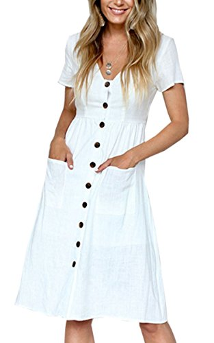 Angashion Women's Dresses-Short Sleeve V Neck Button T Shirt Midi Skater Dress with Pockets White M