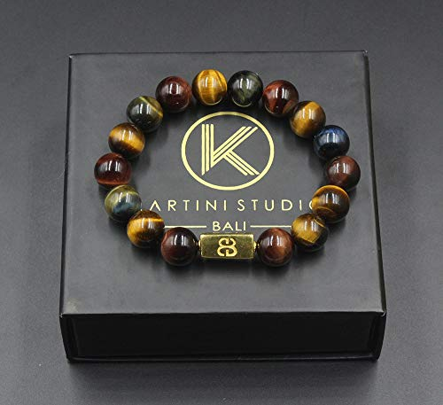 Mixed Tiger's Eye and Gold Beads Bracelet, Tiger's Eye Bracelet, Designer Beads ()