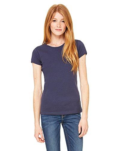 Bella + Canvas Ladies Stretch Rib Short-Sleeve T-Shirt, XL, NAVY