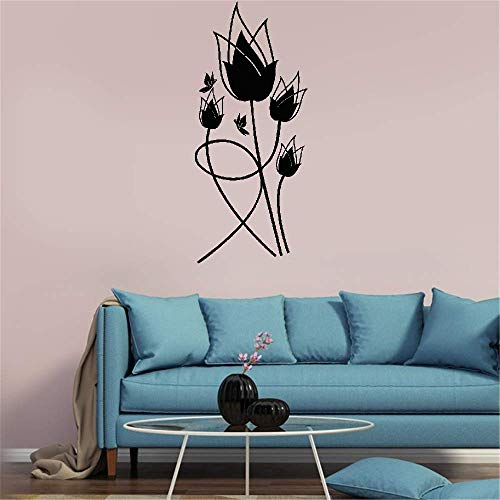 (megoa Wall Sticker Lettering Quotes and Saying Tulipes Rouges for Living Room Bedroom)