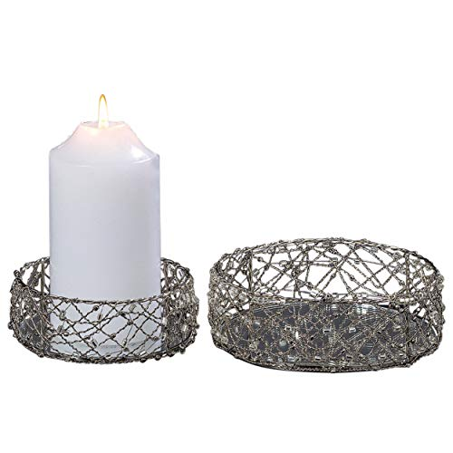 Whole House Worlds Silver Smoke Crystal Beaded Candle Plates, Set of 2, Handcrafted, Twisted Wire, Bugle and Seed Beads, 4 1/2 and 5 1/2 Inch Diameter, Centerpieces, by WHW