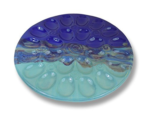 Clay In Motion Handmade Ceramic Deviled Egg Tray - Mystic Waters