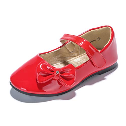 - PANDANINJIA Toddler/Little Kids Camila Wedding Party Red Ballet Flower Mary Jane Girls Flats Dress Shoes