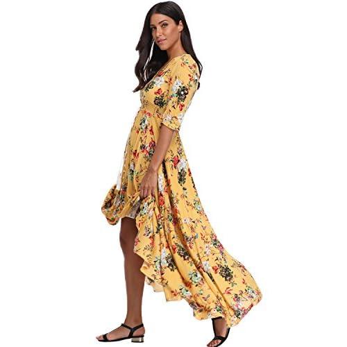48619e7f2e8 BestWendding Summer Floral Print Maxi Dress Women Button up Split Long  Flowy Bohemian Beach Party Dresses