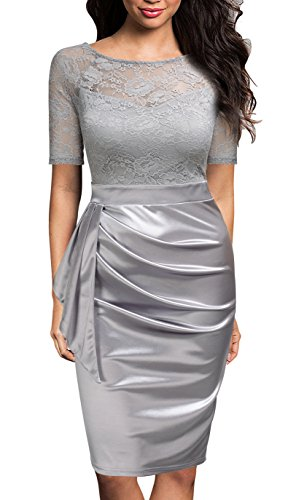 Mmondschein Women's Vintage Ruffles Short Sleeve Business Pencil Cocktail Dress Silver S