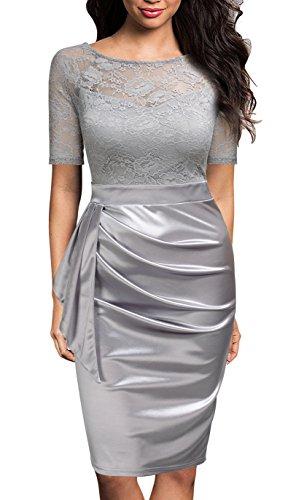 Mmondschein Women's Vintage Ruffles Short Sleeve Business Pencil Cocktail Dress Silver M