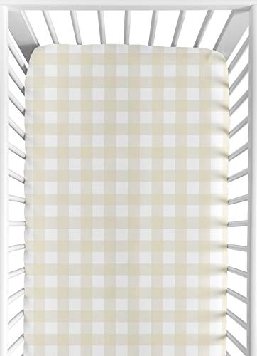Sweet Jojo Designs Beige and White Buffalo Plaid Check Baby or Toddler Fitted Crib Sheet for Woodland Camo Collection