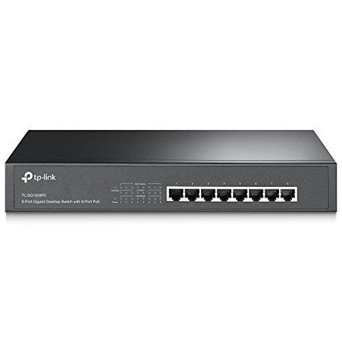 TP-Link 8-Port Gigabit Ethernet PoE+ Unmanaged Energy-efficient Switch with 124W 8-PoE+ Ports | Plug and Play | Metal | Desktop/Rackmount | Lifetime (TL-SG1008PE)
