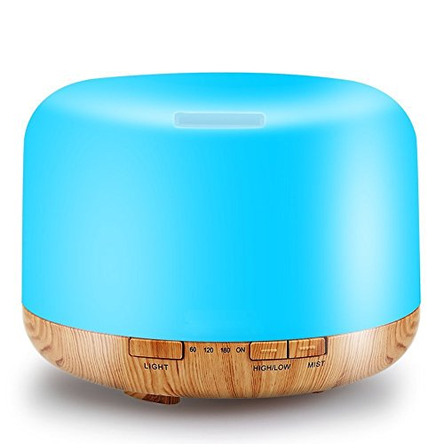 Essential Oil Diffuser, 500ml Wood Grain Zen Style Aroma Diffuser with Cool Mist and 7 Colors ( Aromatherapy Diffuser, Diffusers for Essential Oils, Waterless Auto Shut-off ) - Coffee