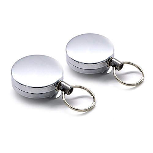 Freehawk® 2Pcs Full-metal Retractable Chain Pull ID Badge Key Card with Belt Loop Clasp & Key Ring Tagging Holders with Belt Clip Badge Reelsfor Keys-ids-badges in Silver