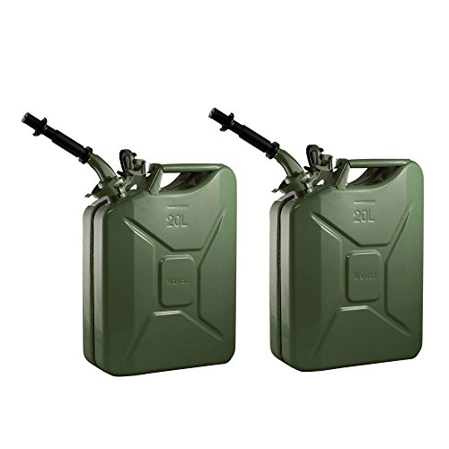 2 Wavian 3008 5.3 Gallon 20 Liter Authentic CARB Fuel Jerry Can w/Spout, Green