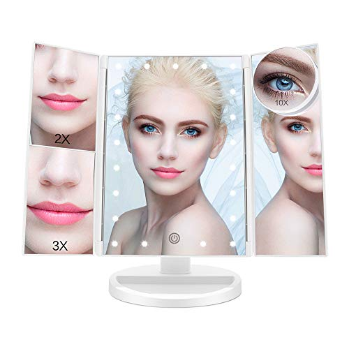 ASCINATE Lighted Makeup Mirror with 21 LED Lights Touch Screen Dimming, Tri-Fold 3X/2X/1X Magnification 180 Degree Rotation Vanity Mirror (White) (Protection Brite Bed)