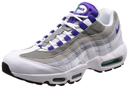 NIKE Women's Wmns Air Max 95, WHITE/COURT PURPLE-EMERALD GREEN, 10.5 US