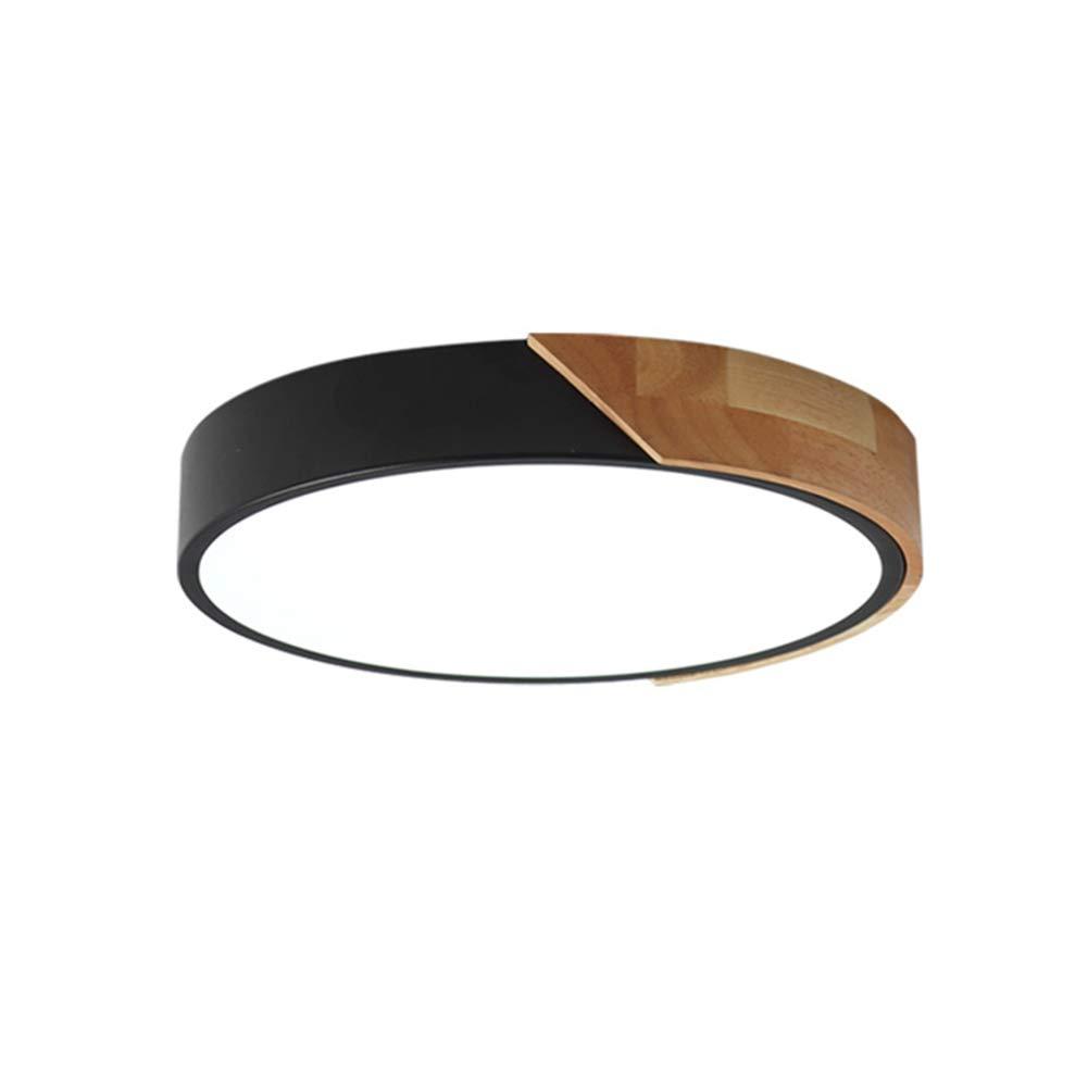 VinDeng Runde Macarons LED Deckenleuchte, 24w 16 zoll Deckenlampe Mit Acryl Metal Holz Schlafzimmer Esszimmer-schwarz Warmes Weiß