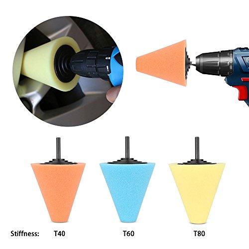 Lenmumu Drill Buffing Sponge Pads Kit 3 Pack, 1/4''/6mm Metal Polishing Tool Cone Foam Pad Polisher Buffer Sponge Ball for Automotive Car Wheels Hub Care by Lenmumu (Image #5)