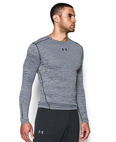 Under Armour Men's ColdGear Armour Twist Compression Crew, White/Black, Small by Under Armour (Image #2)