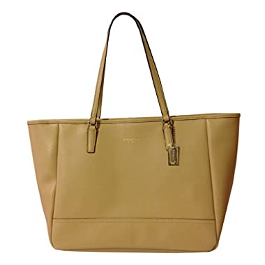 Coach Medium East West City Tote In Tan Saffiano Leather