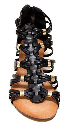 Voor Altijd Rebel-15 Dames Back Zip Strappy Gladiator Sleehak Sandalen Zwart